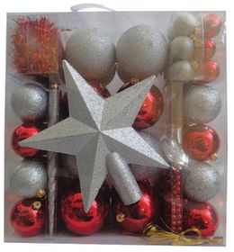 Red & Silver Mixed Decoration Pack  (83 in a box)