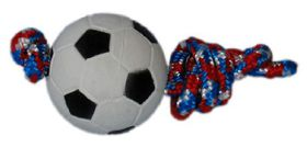 Dog Toy Soccer Ball On Rope - 6cm