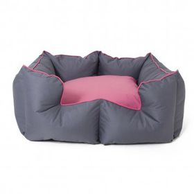 Wagworld Bolster Bed K9 Castle - Medium 55cm x 60cm Grey & Pink