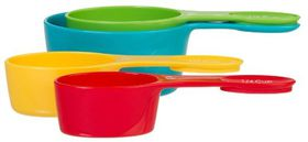 Progressive - 4 Piece Snap Fit Measuring Cups - (60Ml- 80Ml - 120Ml & 240Ml) - Red - Blue - Orange & Green