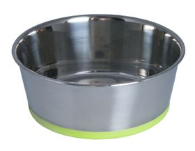 Rogz - Stainless Steel Slurp Dog Bowl - Medium 1050ml - Lime Base