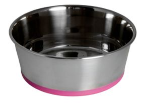 Rogz - Stainless Steel Slurp Dog Bowl - Large 1700ml - Pink Base