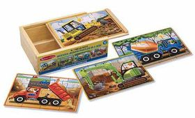 Melissa & Doug Construction Puzzles in a Box - 12 Piece