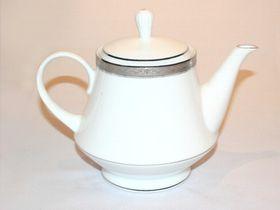 Noritake Signature Platinum Tea Pot with Lid - White & Platinum (25mm x 20mm x 15.5mm)
