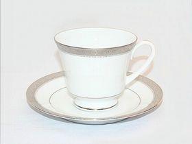 Noritake - Signature Platinum Tea Saucer - White and Platinum - 15 mm x 15 mm x 1 mm