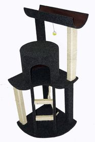Scratzme - Corner Cabin Deluxe Scratching Post - Grey & Charcoal