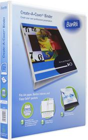 Bantex Create-A-Cover 2 D-Ring A4 20mm Ring Binder - White