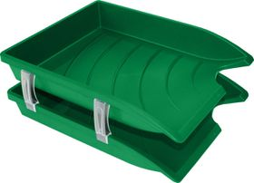 Bantex Optima Retail Pack - 2x Trays & Set of Risers - Green