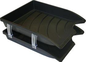 Bantex Optima Retail Pack - 2x Trays & Set of Risers - Black