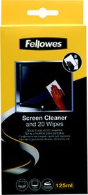Fellowes Screen Cleaning Spray with 20 Absorbant Wipes - 125ml
