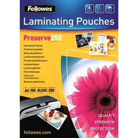 Fellowes Preserve250 A4 250micron Gloss Laminating Pouches (100 Pack)