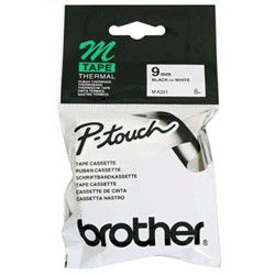 Brother M-K221 9mm x 8m Black on White Non-Laminated Tape