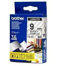 Brother TZ-121 9mm x 8m Black on Clear Laminated Tape