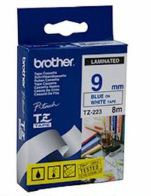 Brother TZ-223 9mm x 8m Blue on White Laminated Tape