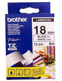 Brother TZ-241 18mm x 8m Black on White Laminated Tape