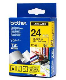 Brother TZ-651 Black On Yellow 24mm Tape