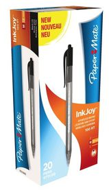 PaperMate Inkjoy 100 Retractable Ballpoint Pens - Black (Box of 20)