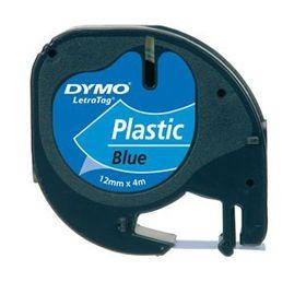 Dymo LetraTag Tape Cassette - Black Print on Blue Tape (12mm x 4m)