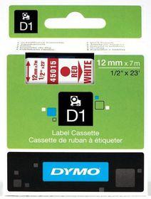 Dymo D1 Tape Cassette - Red Print on White Tape (12mm x 7m)