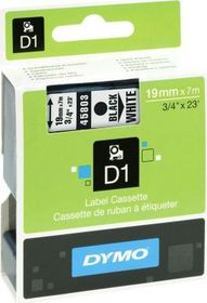 Dymo D1 Tape Cassette - Black Print on White Tape (19mm x 7m)
