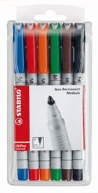 Stabilo OHP Water Soluble Medium Nib Markers - Wallet of 6