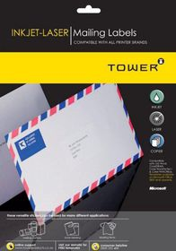 Tower W115 Mailing Inkjet-Laser Labels - Pack of 25 Sheets