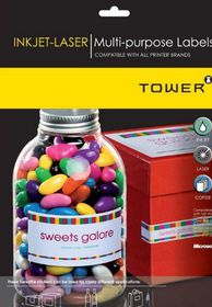Tower W232 Multi Purpose Inkjet-Laser Labels - Pack of 25 Sheets