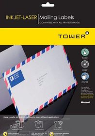 Tower W107 Mailing Inkjet-Laser Labels - Box of 100 Sheets