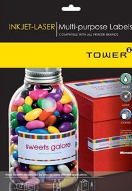 Tower W234 Multi Purpose Inkjet-Laser Labels - Box of 100 Sheets