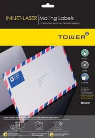 Tower W101 Multi Purpose Inkjet-Laser Labels - Box of 1000 Sheets