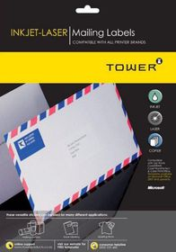 Tower W115 Mailing Inkjet-Laser Labels - Box of 1000 Sheets