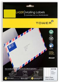 Tower C110 A4 Laser Mailing Labels (Yellow) - Pack of 25 Sheets