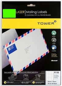 Tower F110 Mailing Inkjet-Laser Labels - Fluorescent Green - Pack of 25 Sheets