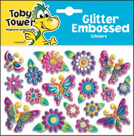 Toby Tower Glitter Embossed Stickers - Butterfly 1