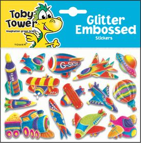 Toby Tower Glitter Embossed Stickers - Transport 1