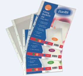 Bantex 'Copy-Safe' Multi Punched Filing Pockets - 50 micron (10 p/p)
