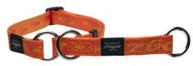 Rogz Medium Alpinist Matterhorn Web Half-Check Dog Collar - 16mm Orange