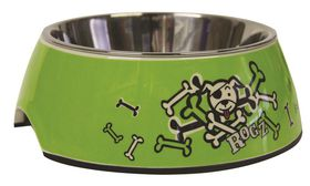 Rogz 2-in-1 Bubble Dog Bowl Small - 160ml Lime Bone