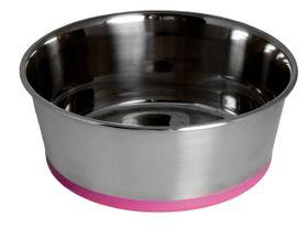 Rogz - Stainless Steel Slurp Dog Bowl - Medium 1050ml - Pink Base