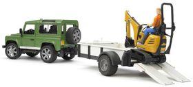 Bruder Land Rover Defender Trailer & JCB Excavator with Worker