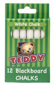 Teddy Blackboard Chalk - Pack of 12 White
