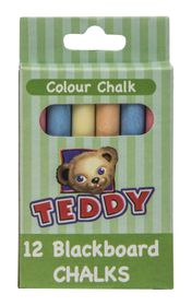 Teddy Blackboard Chalk - Pack of 12 Assorted Colours