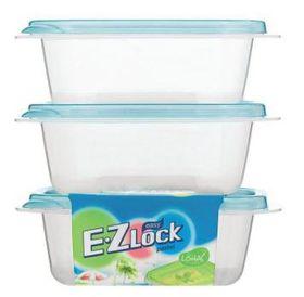 Lock and Lock - EZ Lock - 3 Piece Rectangular Container Set Blue - 270ml