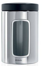 Brabantia Window Canister with Lid - 1.4 Litre Black & Brilliant Steel
