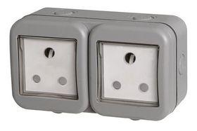 Stingray - IP55 Double SA Socket - Grey
