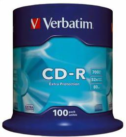 VERBATIM - 700MB - CD-R (52X) - EXTRA PROTECTION NON AZO, SPINDLE - (PACK OF 100)