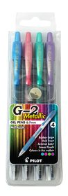 Pilot G2 0.7mm Metallic Gel Pens - Wallet of 4 Colours