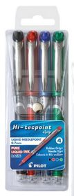 Pilot HiTecpoint Grip Liquid Needlepoint Pens - Wallet of 4 Basic Colours