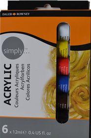 Daler-Rowney Simply Acrylic Colour - 6 x 12ml Set