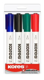 Kores K-Marker Whiteboard Markers Round Tip - Assorted (Pack of 4)